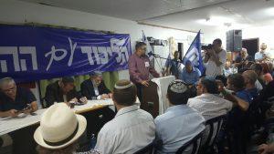 חבר הכנסת אורן חזן בכינוס הליכוד בעמונה.צילום הלל וידל ממטה המאבק עמונה